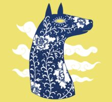 The Water Horse in Blue and White Baby Tee