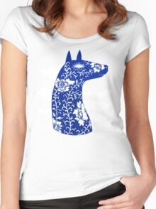 The Water Horse in Blue and White Women's Fitted Scoop T-Shirt