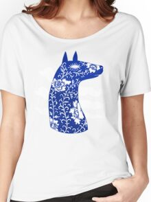 The Water Horse in Blue and White Women's Relaxed Fit T-Shirt