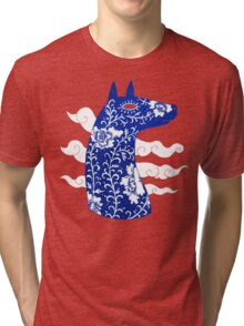 The Water Horse in Blue and White Tri-blend T-Shirt