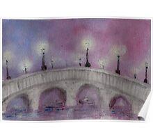 Lamp Post on a Foggy Stone Bridge Poster