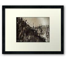 high up mountain forest .... snowy sky  Framed Print