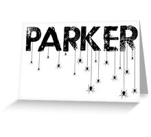 Parker Spider - Black Greeting Card