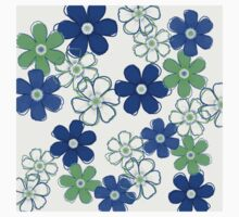 Blue and Green Floral Design Kids Clothes
