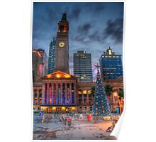 Brisbane City Hall - Christmas At Dusk Poster