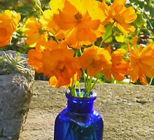 Blue Bottle with Golden Cosmos by Betty Mackey