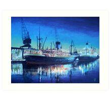 Night dockscene Art Print
