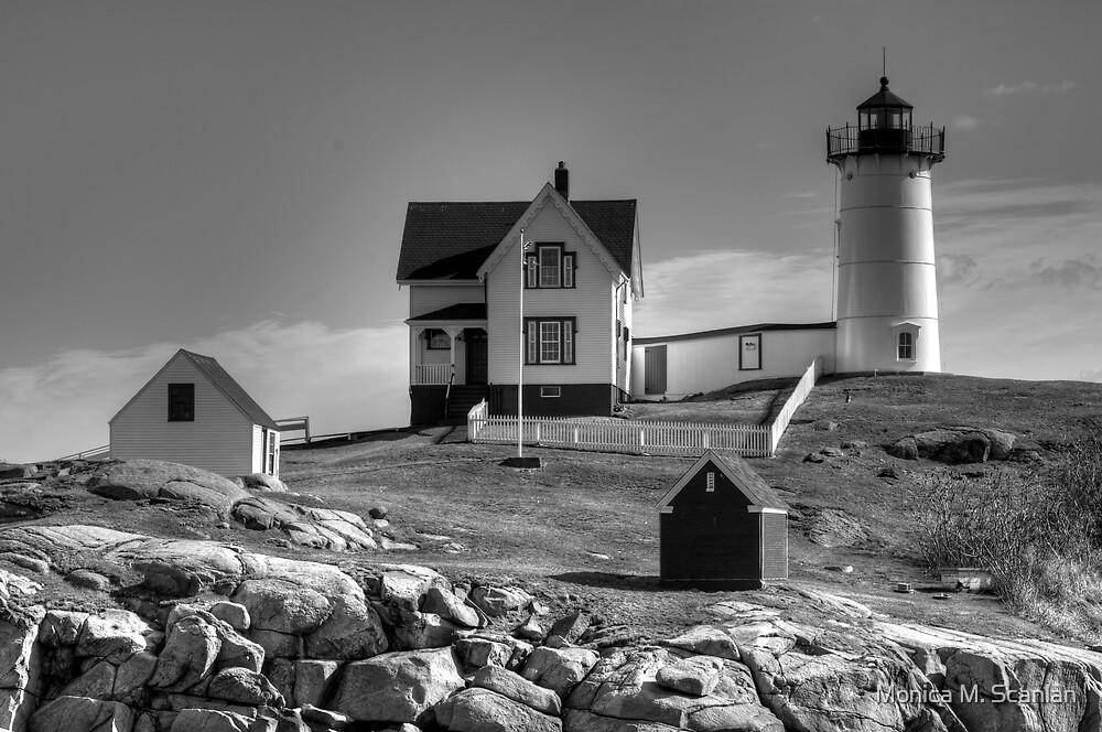 Nubble Lighthouse B&W by Monica M. Scanlan