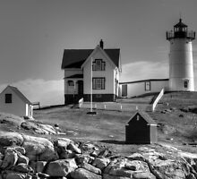 Nubble Lighthouse B&W by Monica M. Scanlan