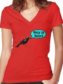 NoisyByNature Blue Women's Fitted V-Neck T-Shirt