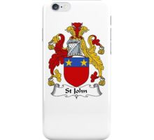 Coat of arms (family crest) for last-name or surname St John . Heraldry banner for your name. iPhone Case/Skin