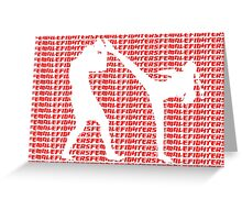 Female Fighter Kickboxer Spinning Back Kick Red  Greeting Card