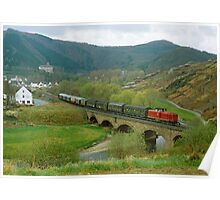 Historical train in the Ahr Valley, Germany, 1980s Poster