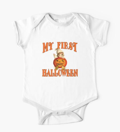 MY FIRST HALLOWEEN with Vintage Art One Piece - Short Sleeve