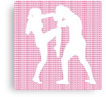 Female Fighter Kickboxer Punch and Knee Pink  Canvas Print