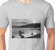 Sunrise over Nissaki - B&W Unisex T-Shirt