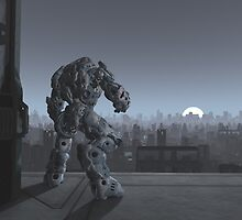 Future City - Robot Sentinel at Moon Rise by algoldesigns