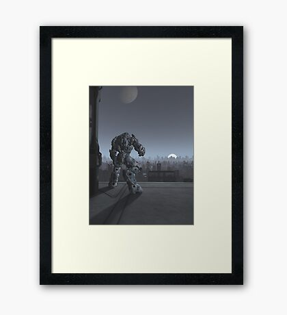 Future City - Robot Sentinel at Moon Rise Framed Print