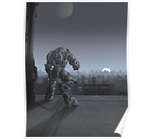 Future City - Robot Sentinel at Moon Rise Poster