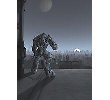 Future City - Robot Sentinel at Moon Rise Photographic Print