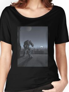 Future City - Robot Sentinel at Moon Rise Women's Relaxed Fit T-Shirt