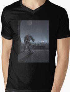 Future City - Robot Sentinel at Moon Rise Mens V-Neck T-Shirt