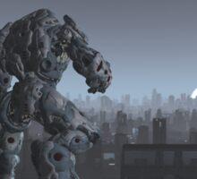 Future City - Robot Sentinel at Moon Rise Sticker