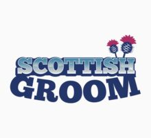 Scottish Groom with Scotland theme and Scot flower Thistle Kids Tee
