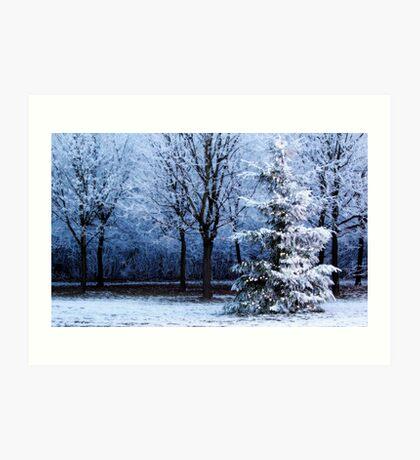 Blue Forest Christmas Tree Art Print