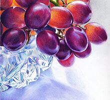 Grapes in Crystal Bowl- 2 by Valentina Gatewood