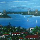 Sydney Harbour from Bondi NSW Australia by Angela Gannicott