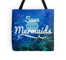 Save Our Mermaids Ariel Boho Nature California Ocean Beach Print Tote Bag