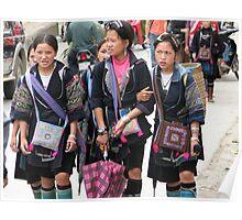 Sapa, Vietnam - Young  Hmong girls Poster