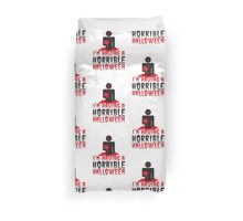 I'm having a HORRIBLE HALLOWEEN! with zombie monster eating brains Duvet Cover