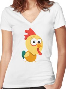 Cartoon Rooster Women's Fitted V-Neck T-Shirt