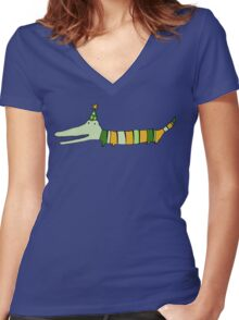 Stripey Mr Crocodile Women's Fitted V-Neck T-Shirt