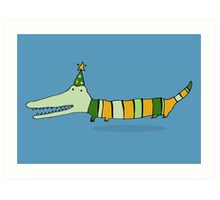 Stripey Mr Crocodile Art Print