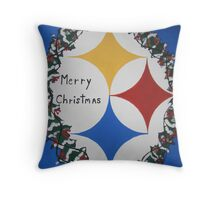 Steelers Christmas Card Throw Pillow