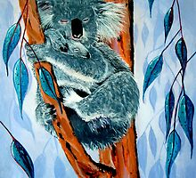 Koala and baby sleeping amongst the manna gum leafs by John Segond