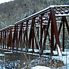 Snow Covered Railroad Bridge at Petroleum Center by Geno Rugh