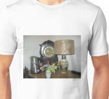 An Antique Clock and a Lamp Unisex T-Shirt