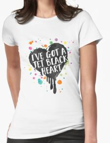 Jet Black Heart (paint splattered) Womens Fitted T-Shirt
