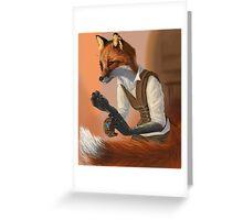 Sewing Fox (No Hair) Greeting Card