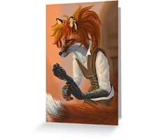Sewing Fox with Ponytail Greeting Card