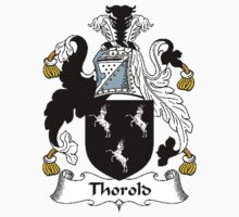 Coat of arms (family crest) for last-name or surname Thorold . Heraldry banner for your name. Kids Clothes