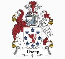 Coat of arms (family crest) for last-name or surname Thorp . Heraldry banner for your name. Kids Clothes