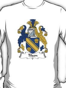Coat of arms (family crest) for last-name or surname Tilson or Tilston . Heraldry banner for your name. T-Shirt