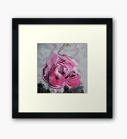 Red Rose from Roses in black vase Framed Print