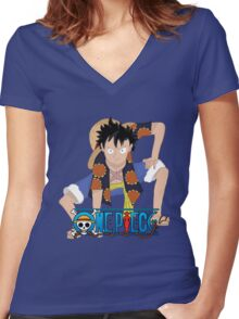 Luffy One Piece Second Gear Dressrosa Women's Fitted V-Neck T-Shirt