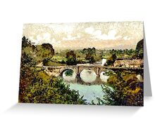A digital painting of  Dinham Bridge, Ludlow, England early 19th century Greeting Card